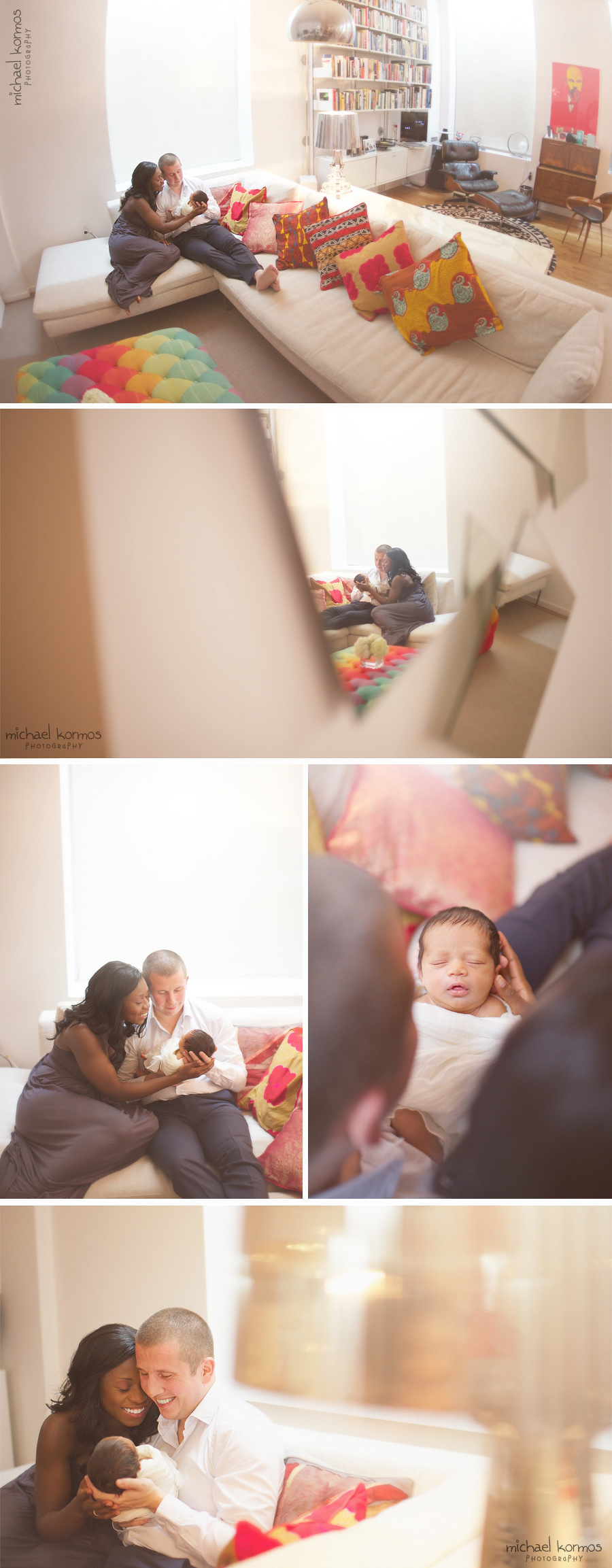 Contemporary modern Manhattan nyc apartment is a beautiful colorful backdrop to capture genuine moments enjoyed with their newborn baby
