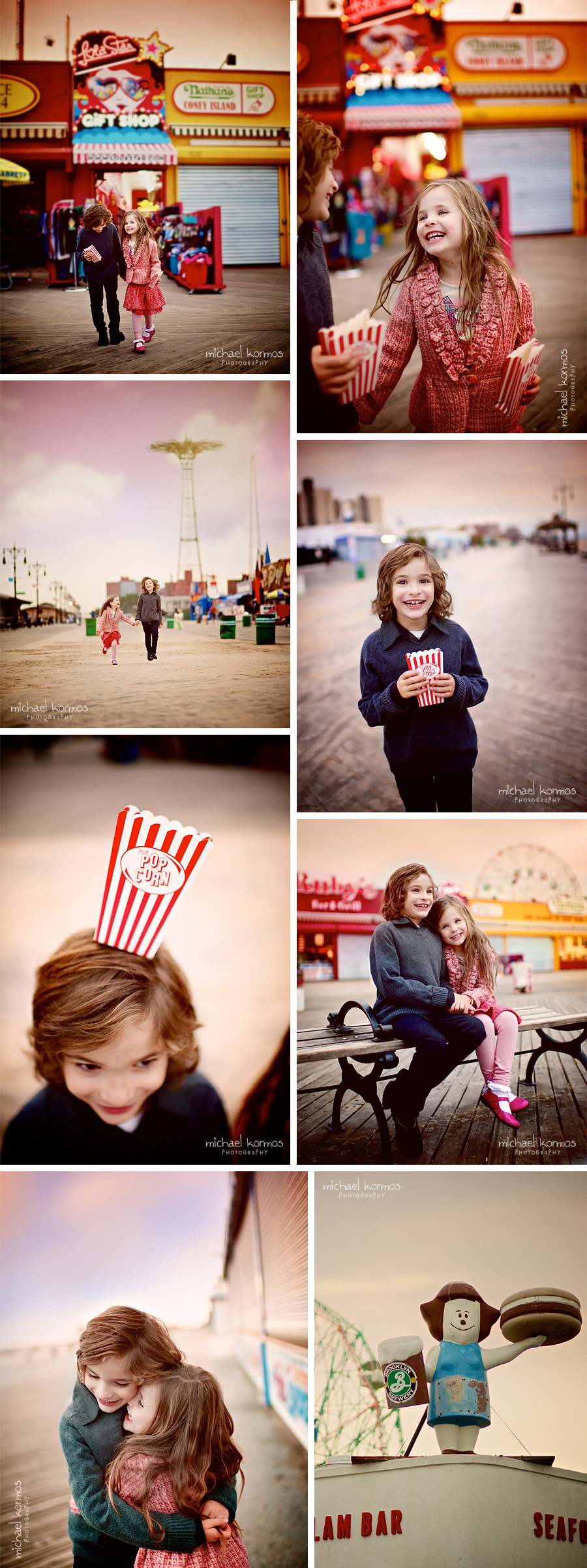 Two children running around at Coney Island