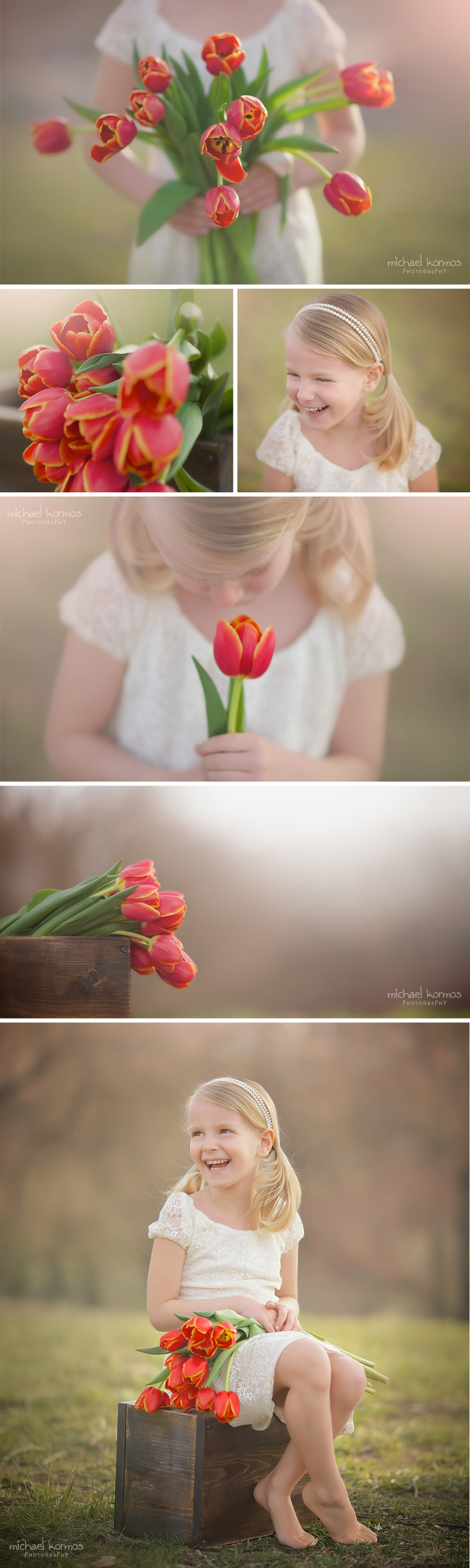 Blonde girl with orange tulips in Springtime photographed by Michael Kormos
