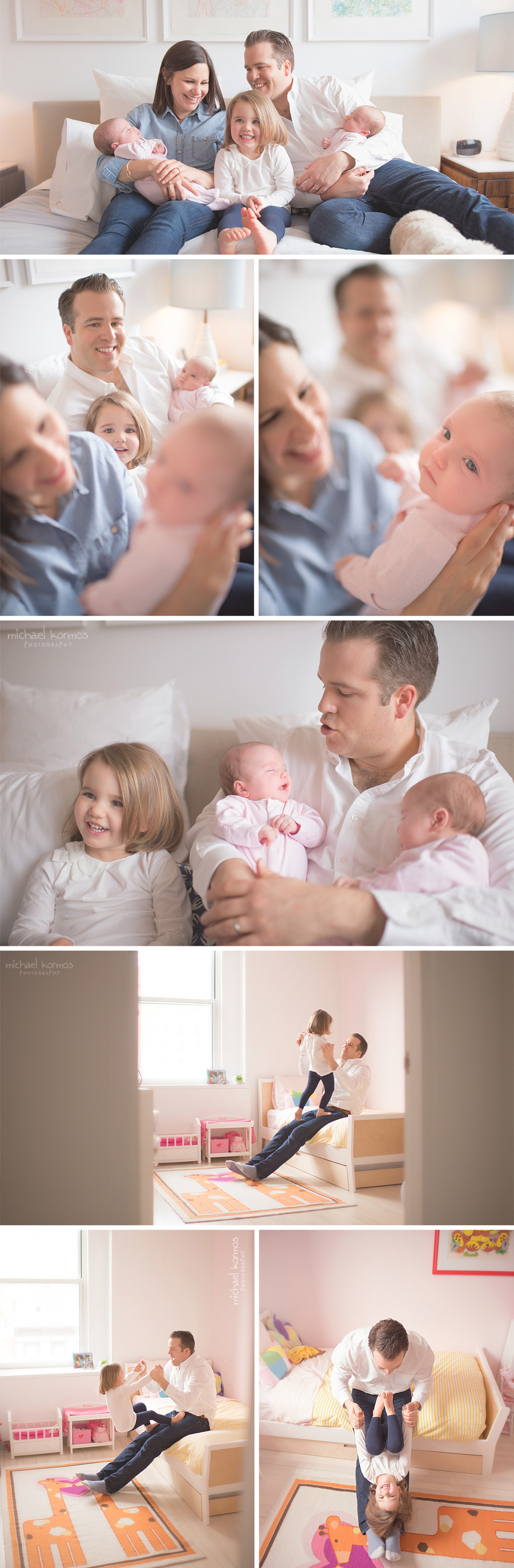 Photograph of family of five with twin girls as the newest addition in their nyc apartment