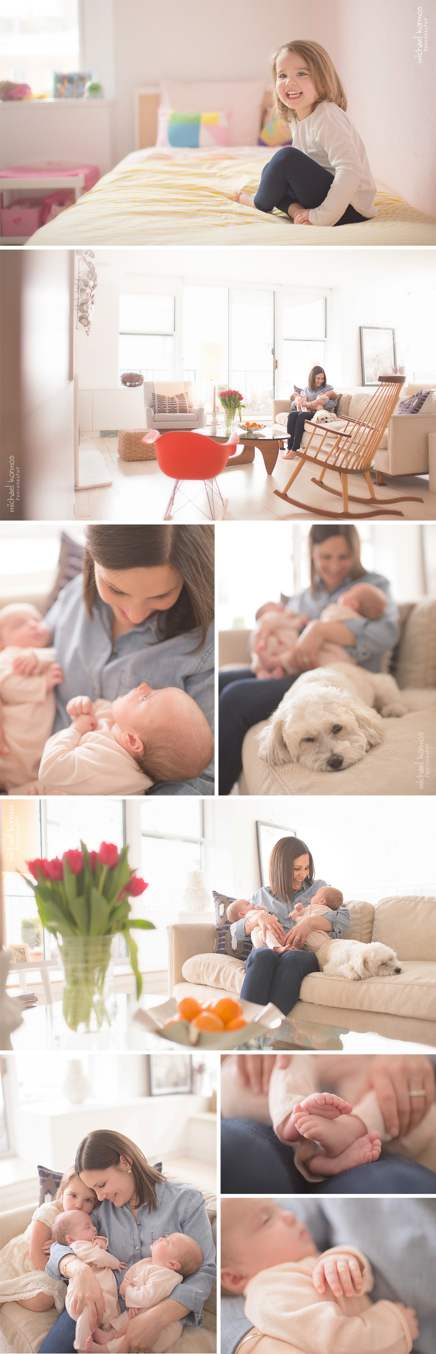 nyc lifestyle family photographer captures the happiness and pure joy of brand new babies in the home