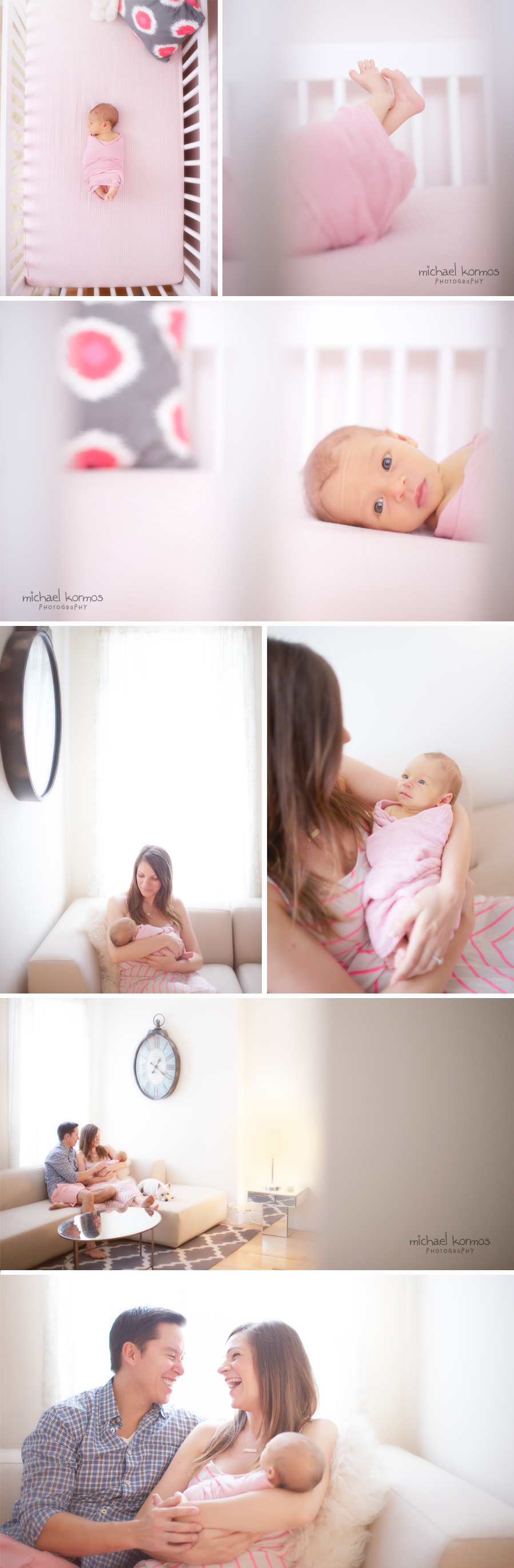newborn captured artistically in her crib and nursery
