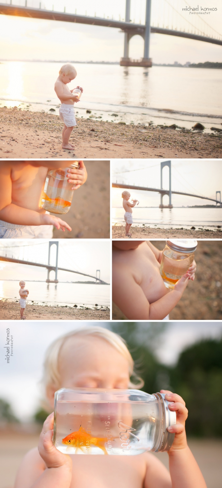 Photo of baby boy and goldfish in a Mason glass jar at the beach