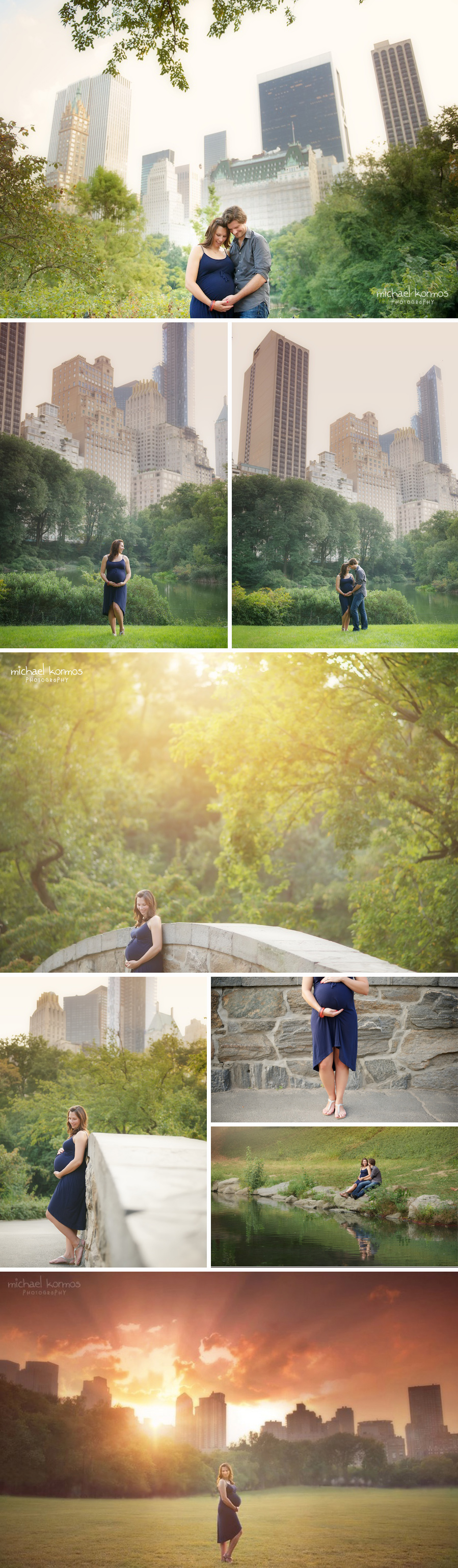maternity couples portraits at Gapstow Bridge in Central Park