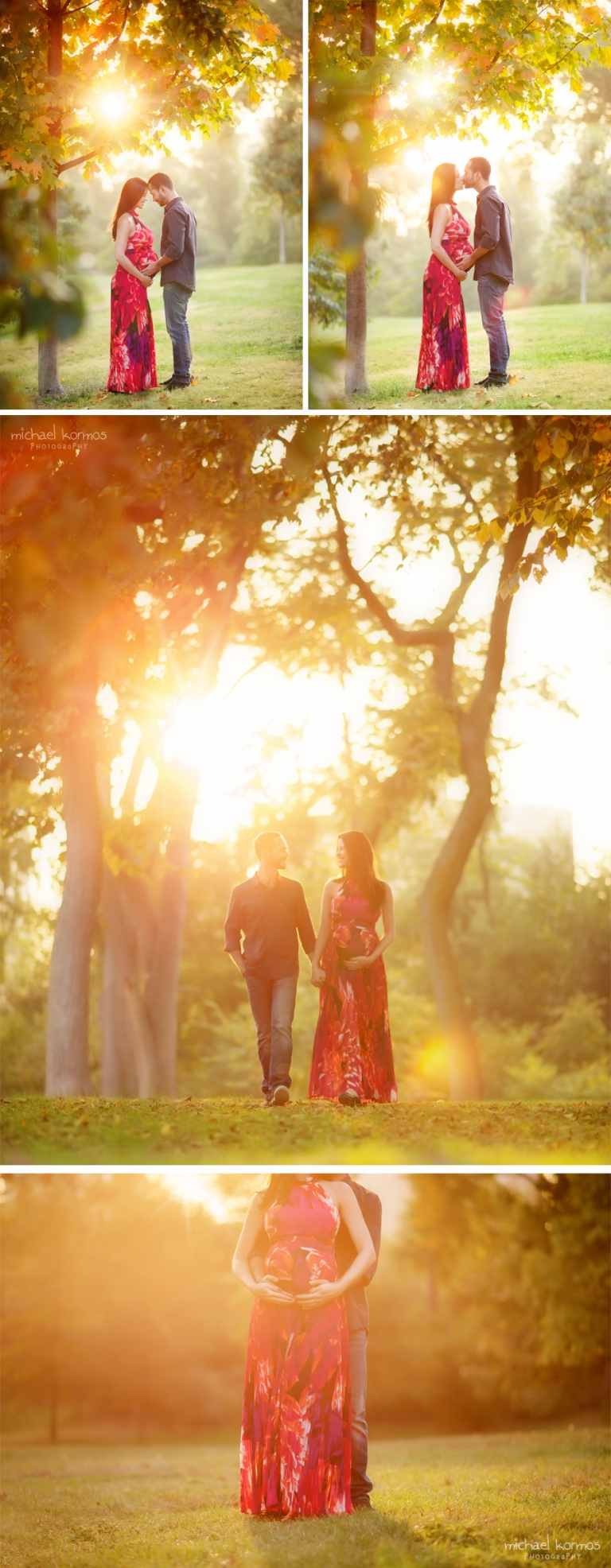 Husband and wife maternity portraits with soft glow of golden hour sunset light as they stroll through Central Park