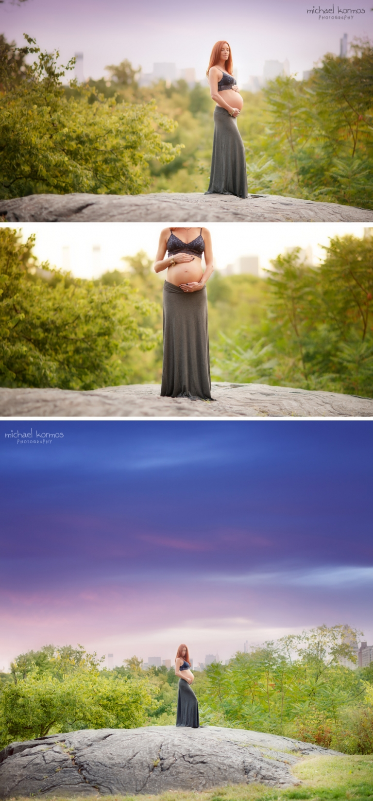 Maternity portraits captured on giant rock with skyline in Central Park