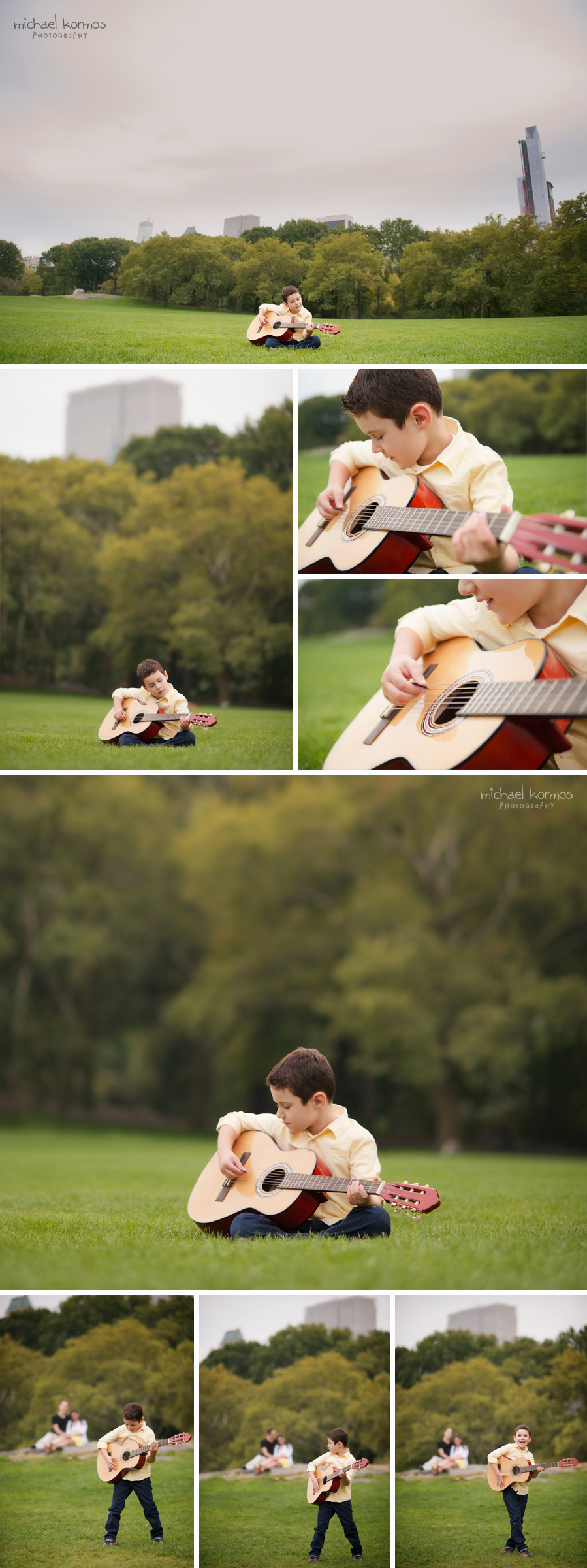 boy playing his guitar in Central Park Manhattan