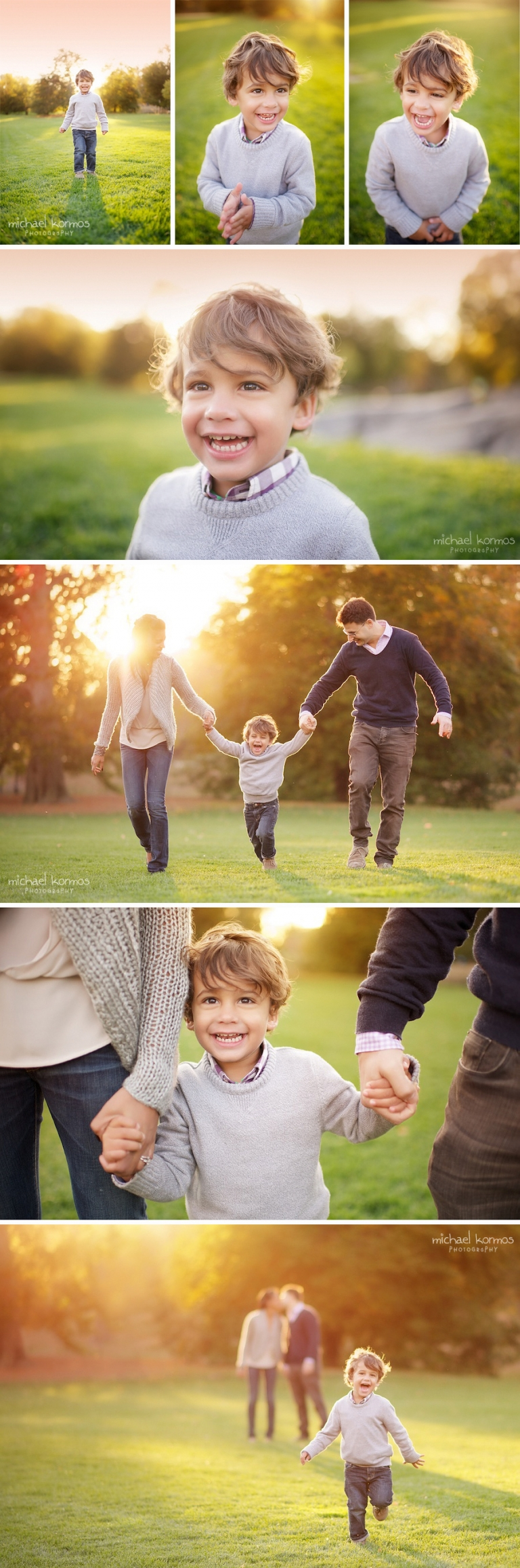 Fall portraits of three year old boy and his parents