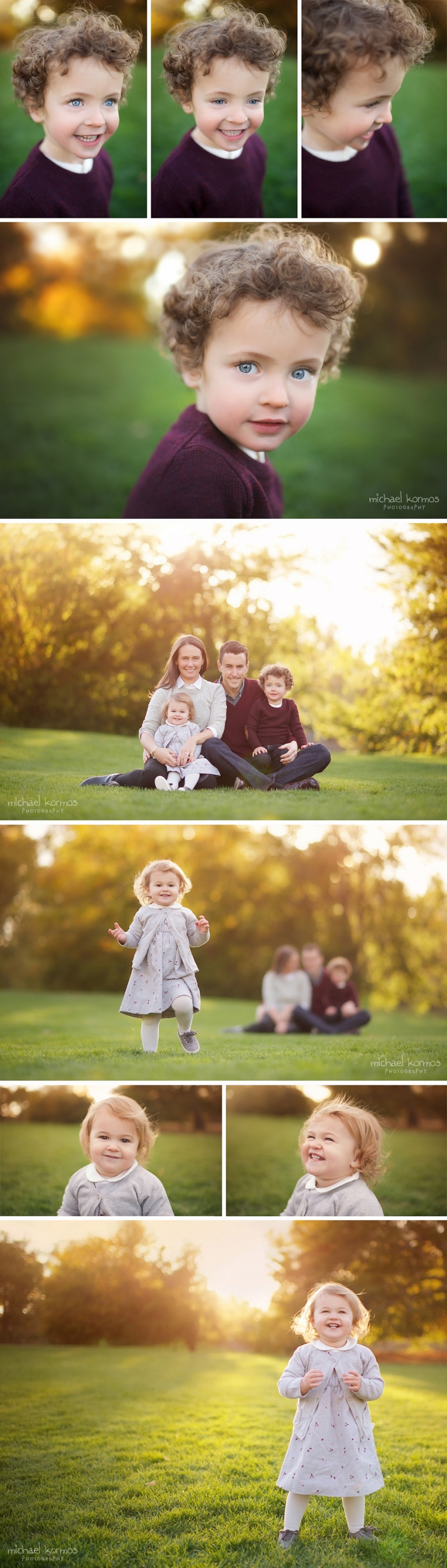 Family styled in purple and warm tones for beautiful and colorful Fall portraits