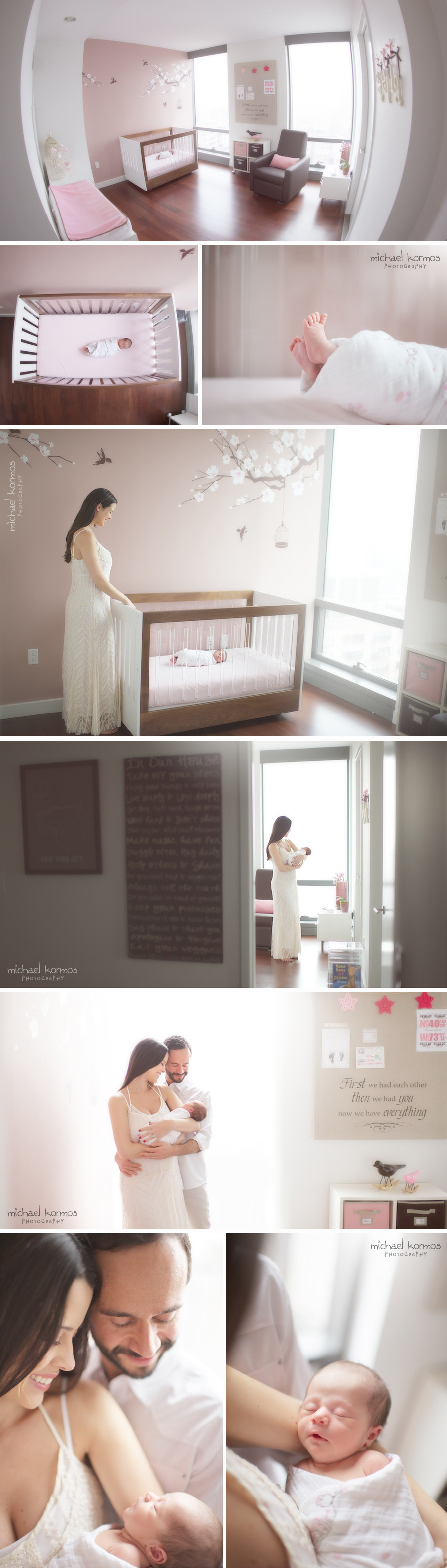 Beautifully decorated nursery with gorgeous wall mural is the perfect setting for comfortable and intimate newborn photography that is filled with emotions