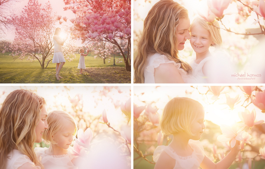 Intimate child photography captured amidst the springtime pink cherry blossoms blooming in Prospect Park NYC