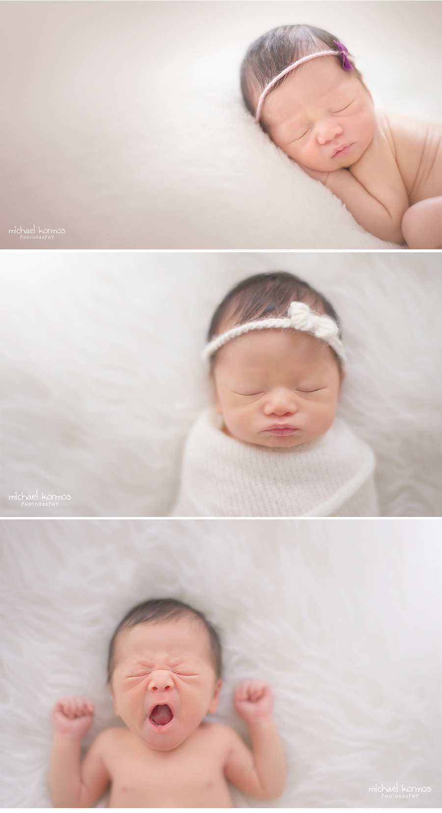 newborn baby pouty lips and yawns captured in home