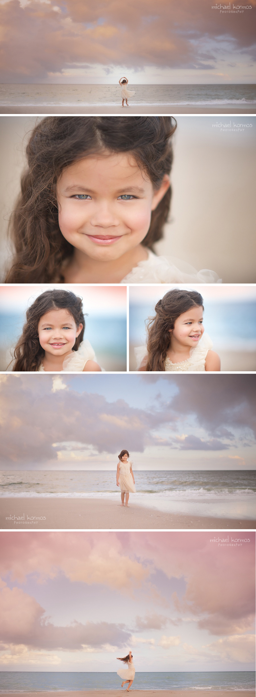 Photographer Michael Kormos captures lifestyle child model photography of three 6-year old girls during a fun experience at the beach