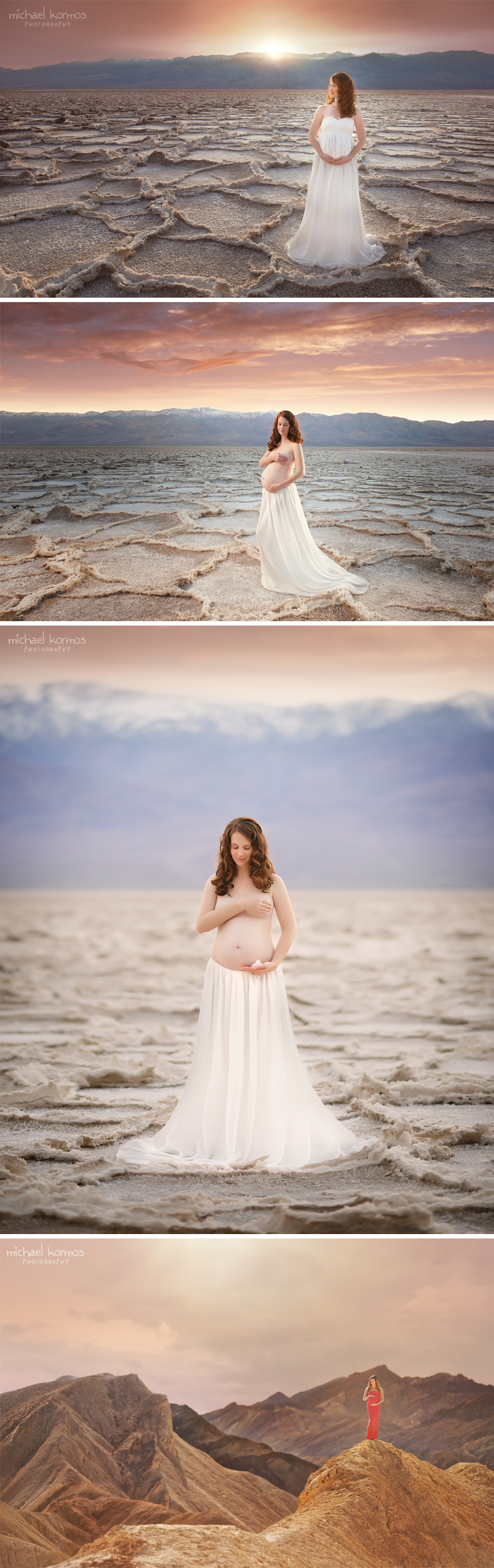 NYC Maternity Photographer Michael Kormos captures timeless portraits in studio and on location in Death Valley