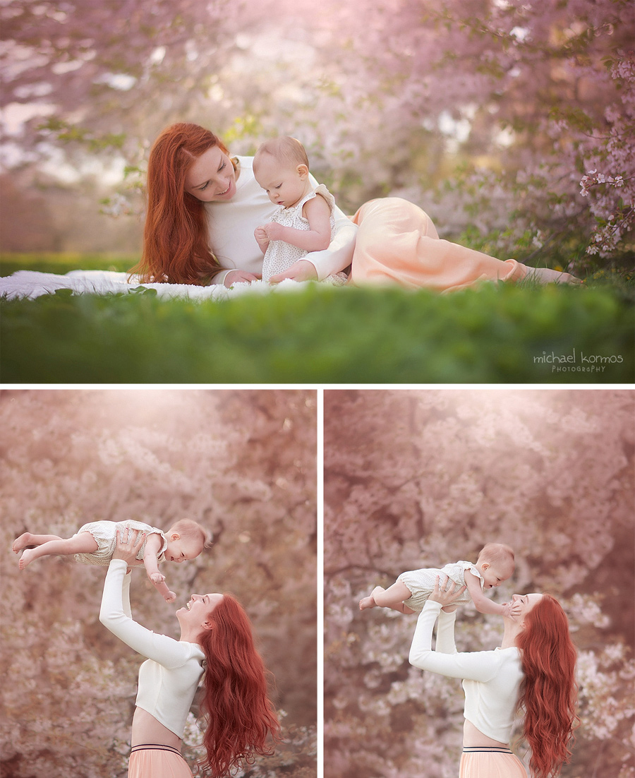 Mother and baby captured on film amidst cherry blossom trees in New York