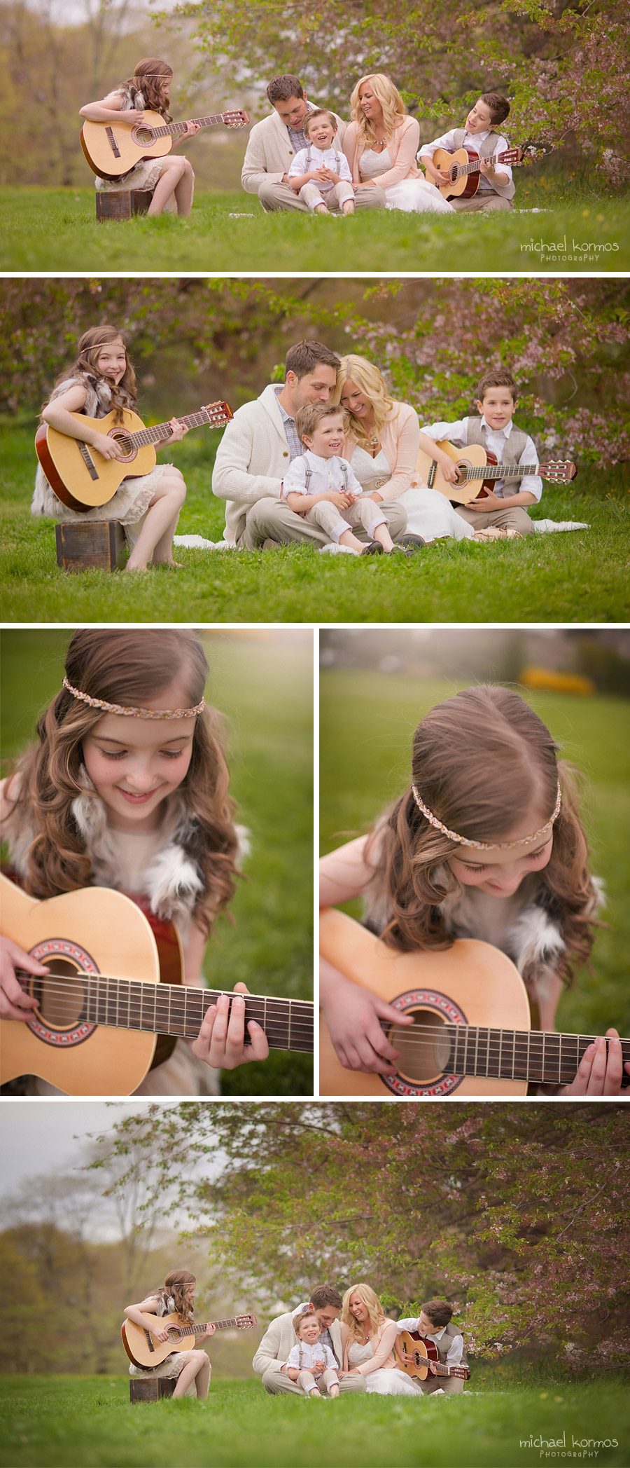 Children playing guitar in an open field during photo session