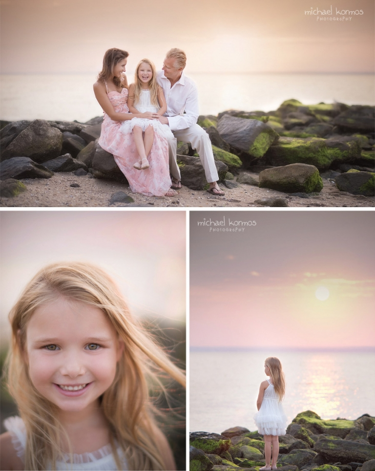 photo of laughing family on beach rocks