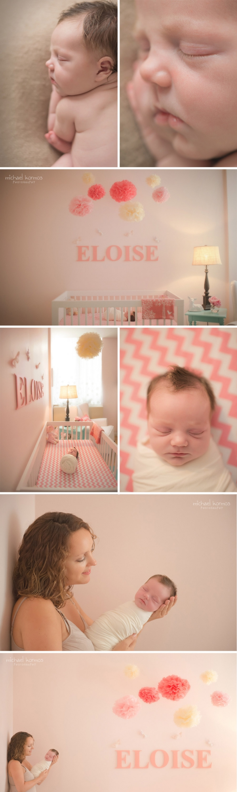 lifestyle newborn photography in coral turquoise nursery