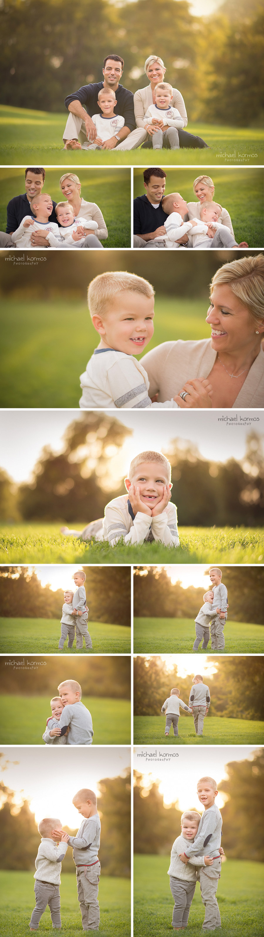 photographer captures brothers playing together at golden hour