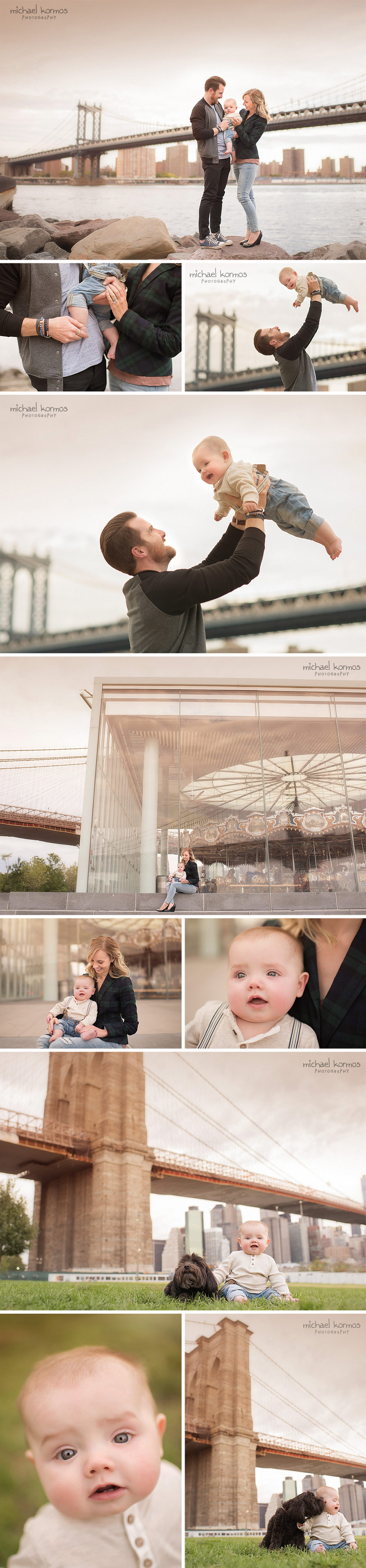 family photo shoot outdoors dumbo brooklyn