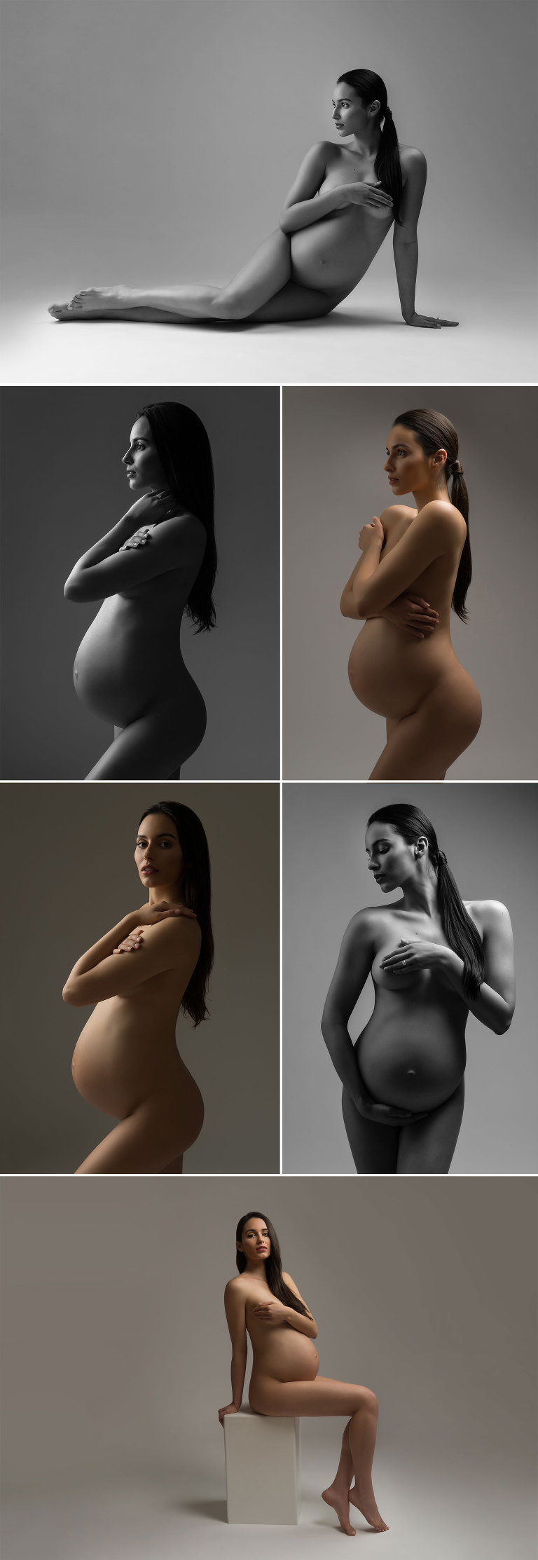 nyc black white fine art maternity photographer studio