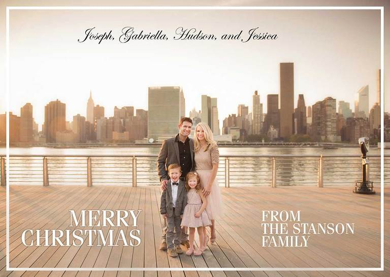 Christmas Card showing a modern NYC family along with their children.