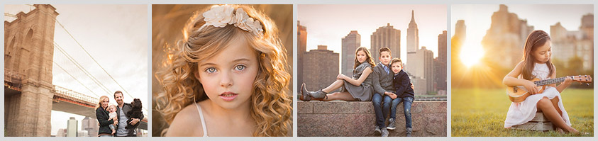 A variety of child and family portraits set amidst the NYC skyline