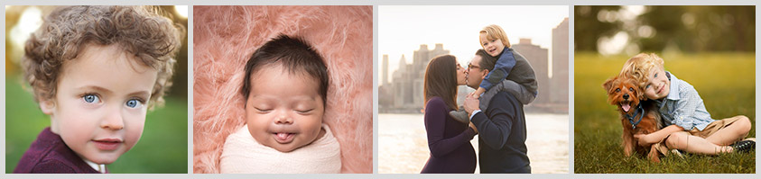 Collage of newborn and family portraits