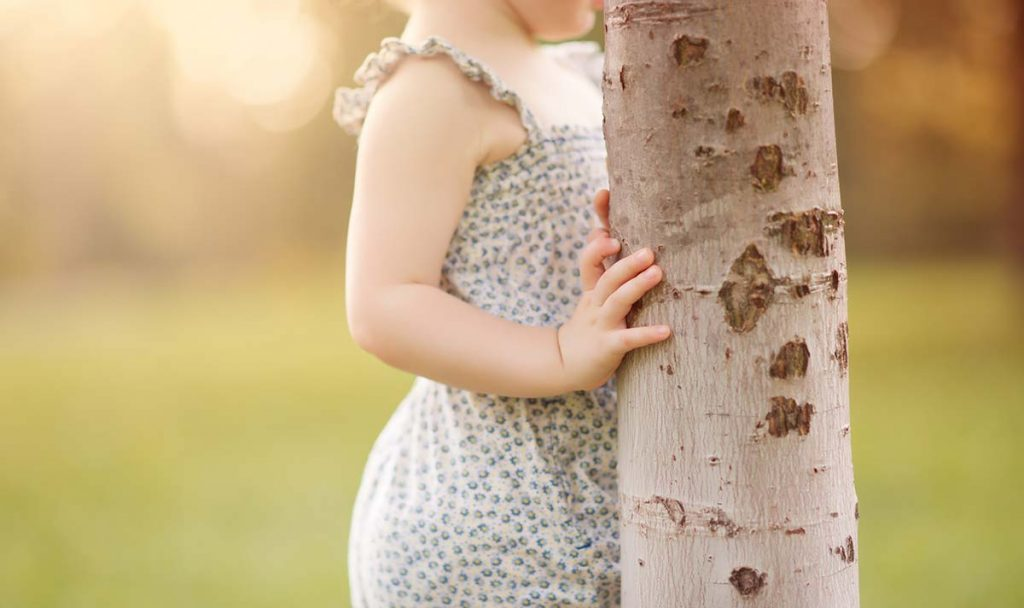 A closeup image of a girl holding a tree.