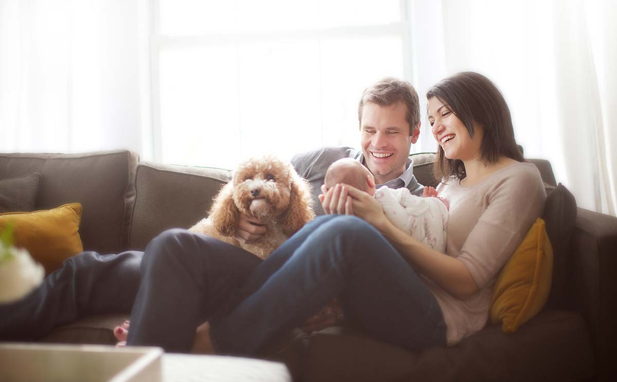 Happy parents sitting on the couch with their newborn baby and family pet