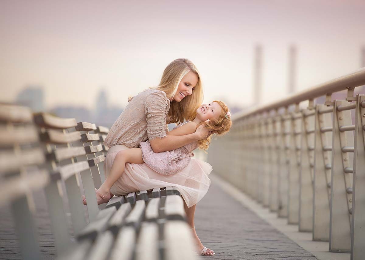 Candid moment between a mother and her daughter