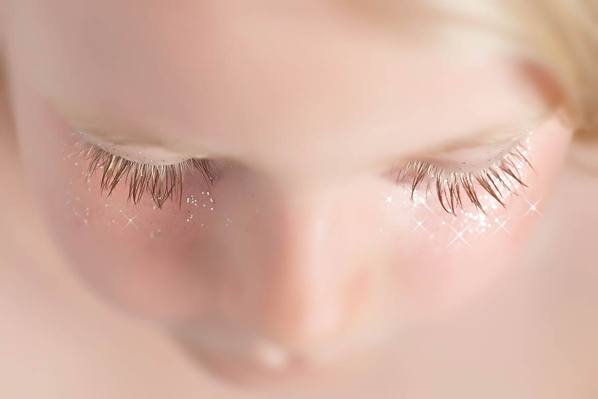 Closeup of young girl's eyelashes