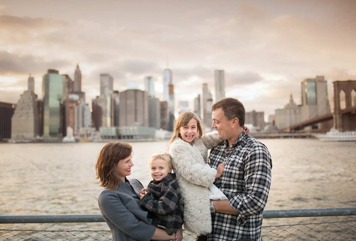Modern family portrait in NYC downtown