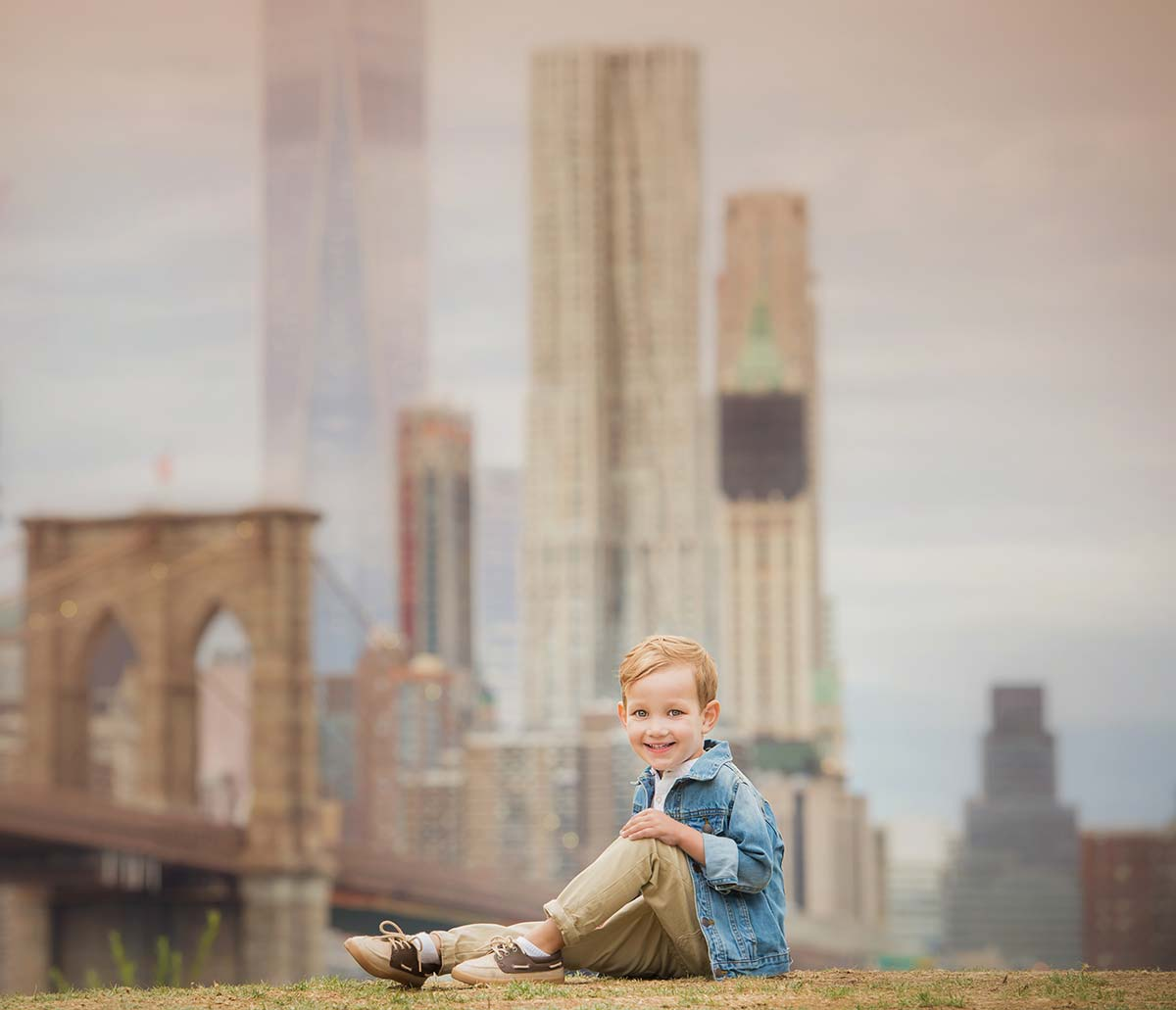 Young boy posing for a portrait in NYC downtown
