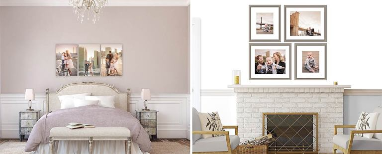 Sample wall display showing various clusters of family portraits in a room setting