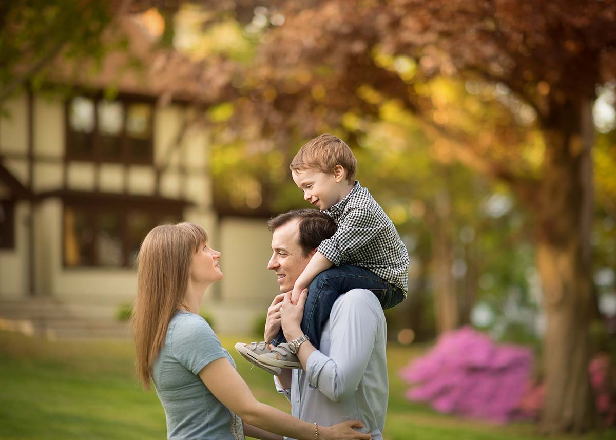 Joyful family moment with spring flowers
