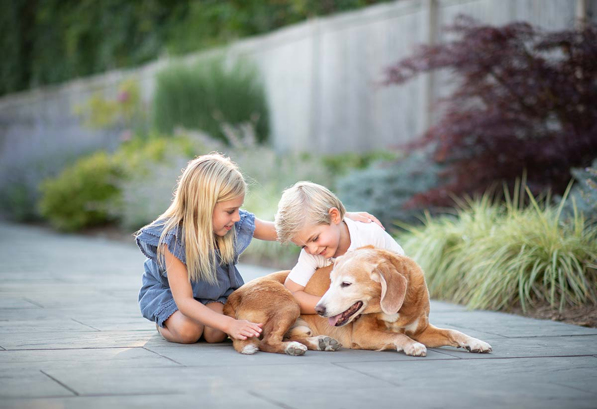 A brother and sister share a joyous moment with their golden labrador in Bridgehampton NY