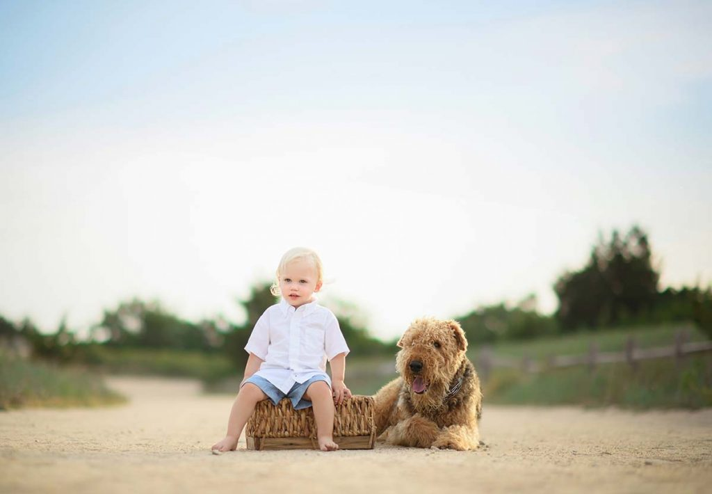 A cute boy sitting on a basket along with is pet dog