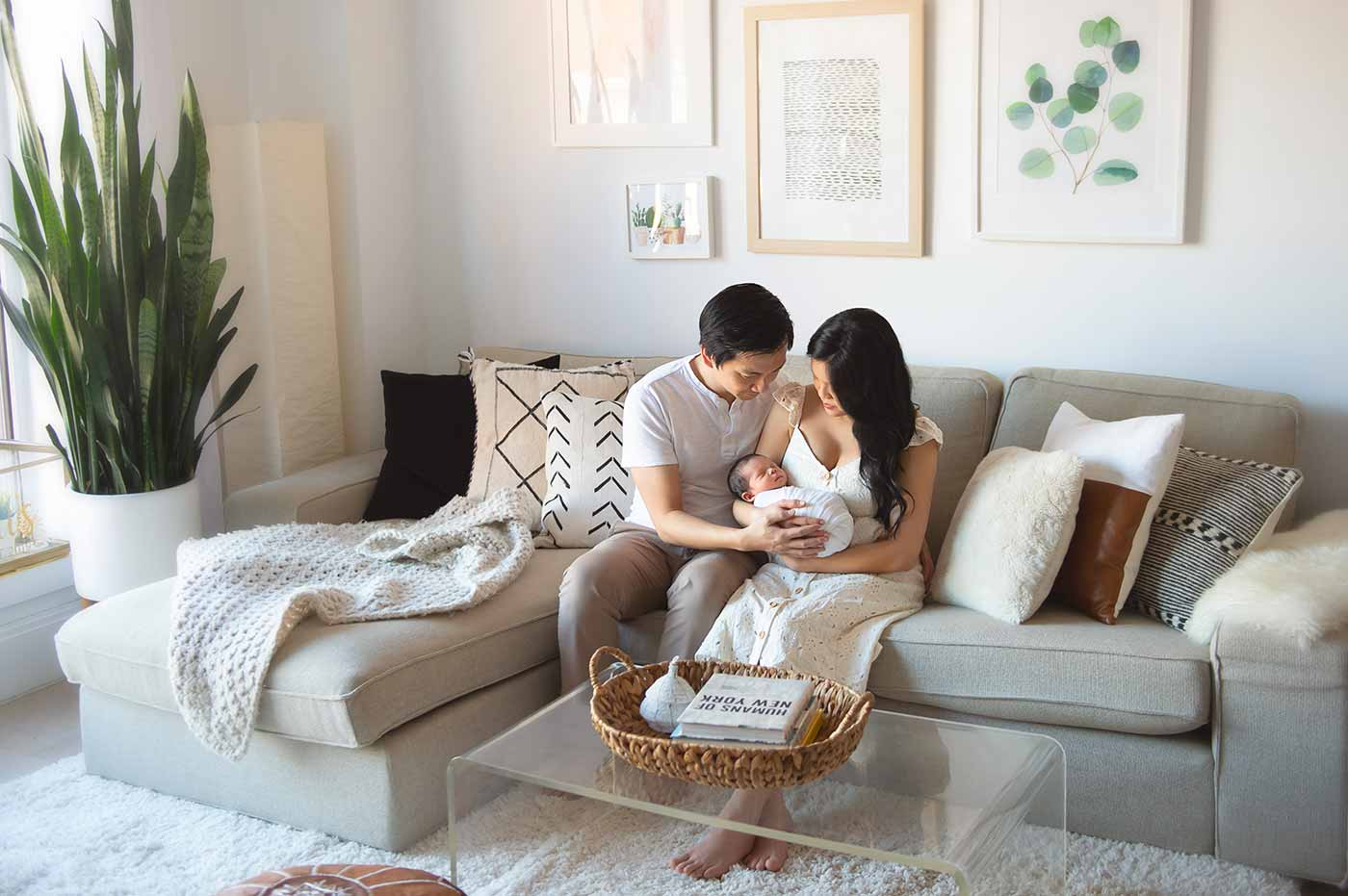 lifestyle newborn and family photography in boho chic decorated home