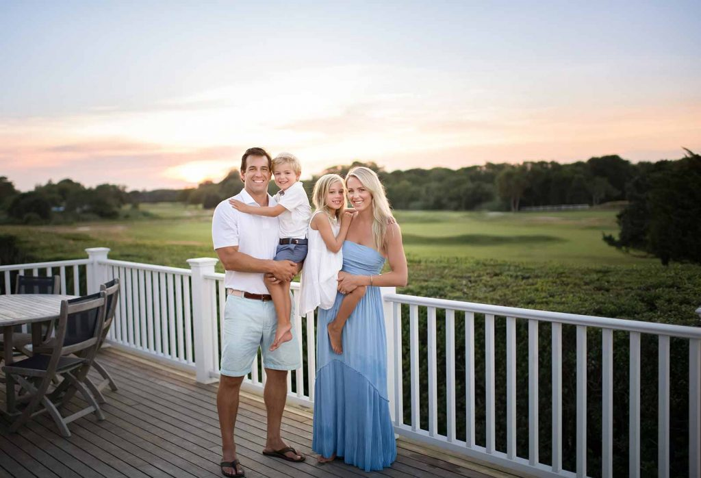 Stylish family photo on a golf course in West Hampton, NY